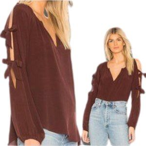 Chaser Tie Sleeve Mulberry Silk Blouse NWT M